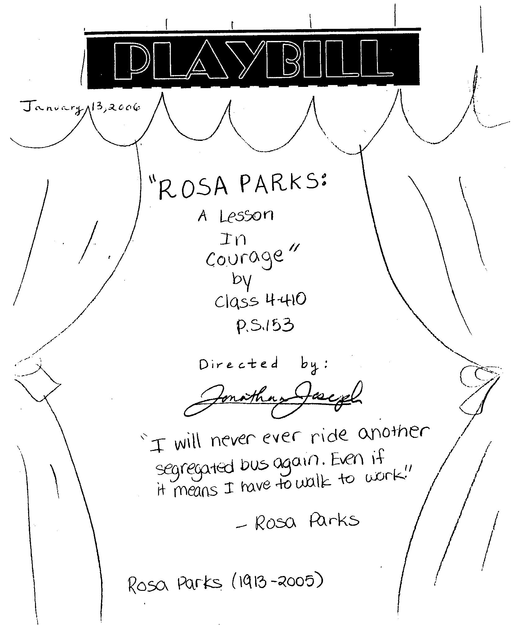 "Playbill for ""Rosa Parks: A Lesson in Courage"""